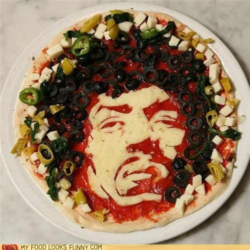 art,cheese,illustration,jimi hendrix,olives,pizza