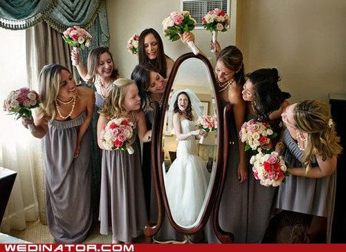 bride bridesmaids funny wedding photos Hall of Fame mirror