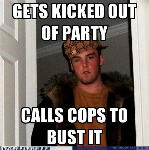 busted cops Party Scumbag Steve