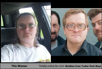 bubbles,coke bottle glasses,glasses,Hall of Fame,random person,television show,trailer park boys,woman