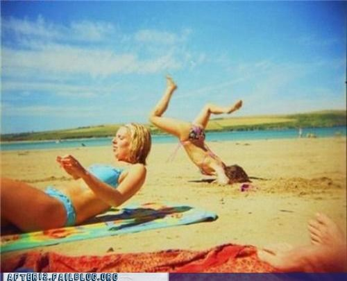 beach party,bikini,faceplant,FAIL,sand