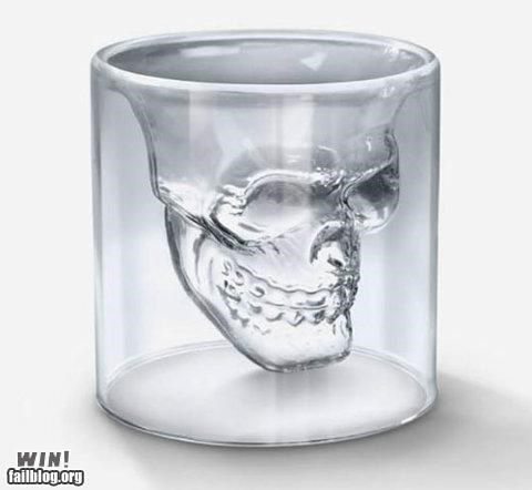 design glass Hall of Fame memento mori shot glass skull - 5151615744