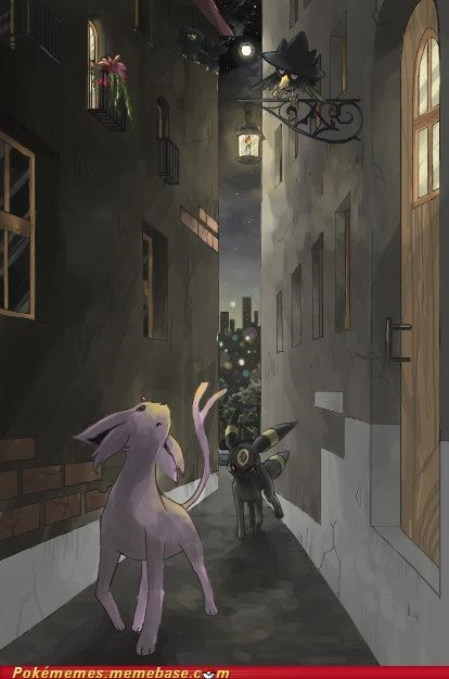 art,espeon,strolling,umbreon