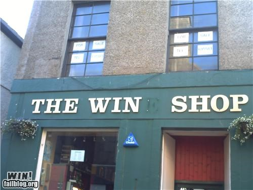 accidental win,business,missing letters,sign,storefront,win
