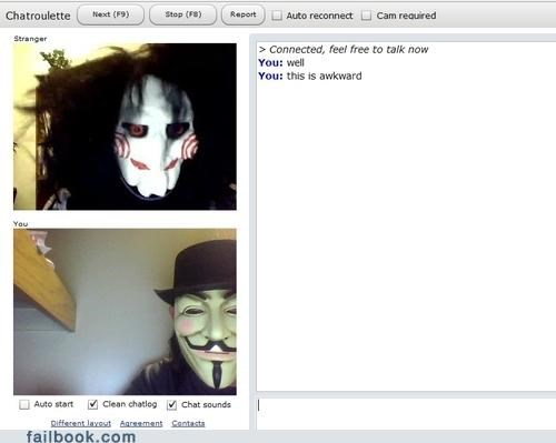 Awkward chatroulette Guy Fawkes jigsay masks oh snap
