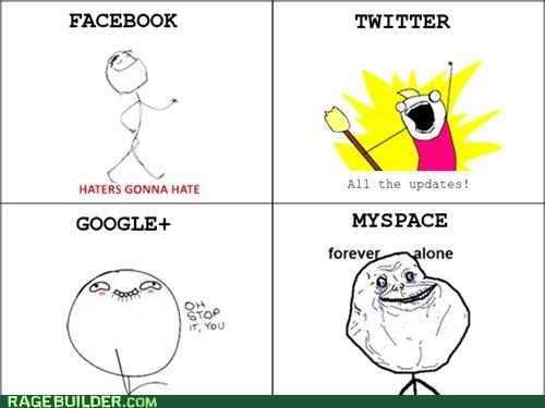 all the things,facebook,forever alone,haters gonna hate,myspace,Rage Comics
