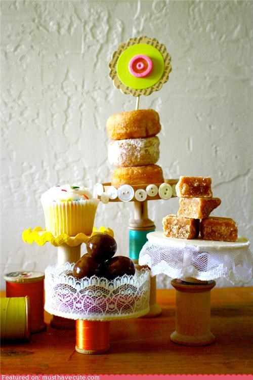 cake,crafts,DIY,donuts,epicute,lace,spools,stands,sweets,thread
