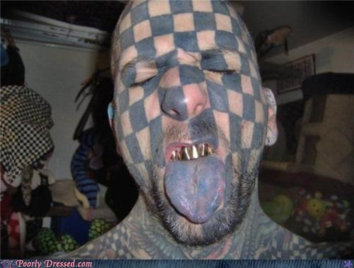 checkers gold teeth grills tattoo - 5152944640