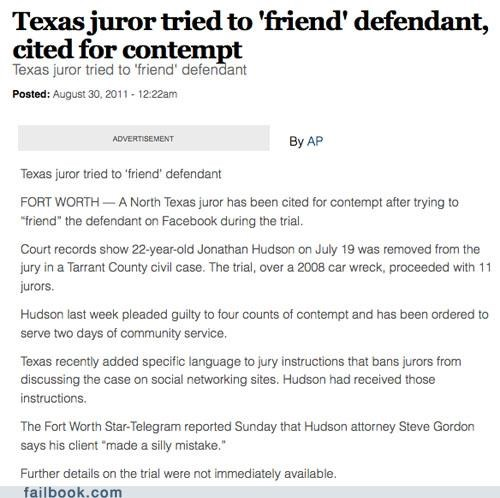 facepalm friend request juror news texas - 5153073920