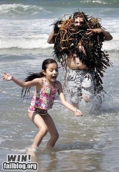 beach,cthulu,dad,monster,parenting,parents,seaweed