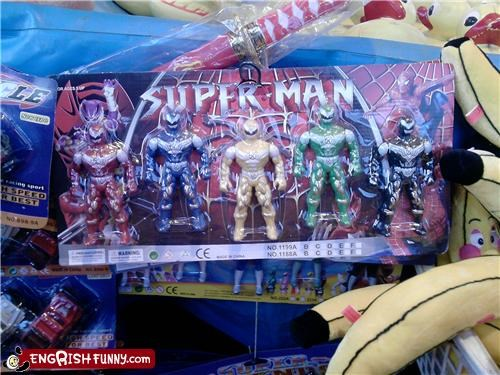 knockoff,power rangers,Spider-Man,superheroes,superman,toy,wrong