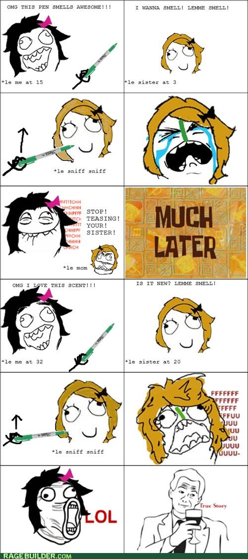 mark,pen,Rage Comics,scent,sister,troll