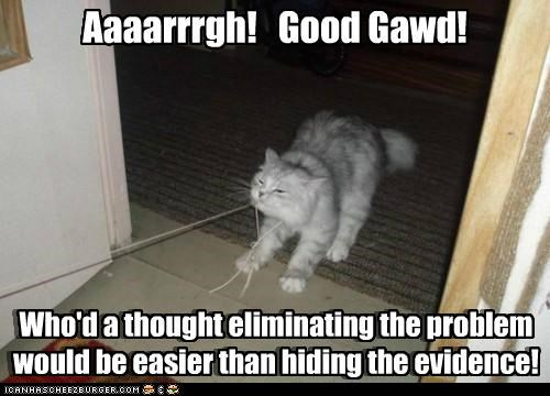 Aaaarrrgh! Good Gawd! Who'd a thought eliminating the problem would be easier than hiding the evidence! Who'd a thought eliminating the problem would be easier than hiding the evidence!