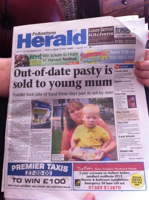 Folkestone Herald headline Slowest News Day Ever Stop The Presses - 5155150848