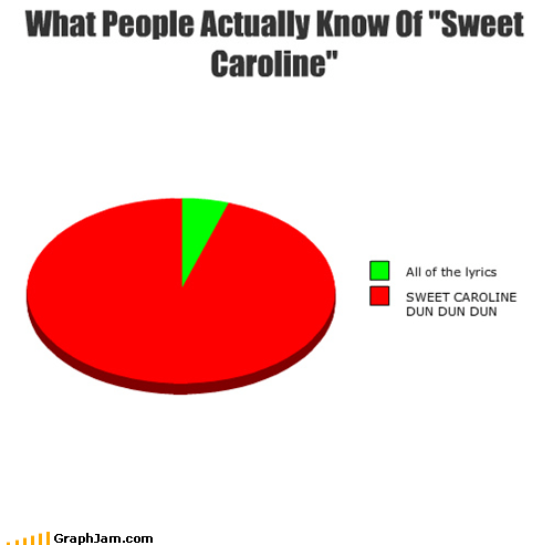 lyrics,Pie Chart,Songs,sweet caroline