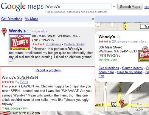 food service,google maps,review,urban,wendys