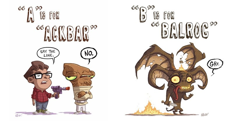 Funny geeky alphabet comic, lord of the rings, star wars.