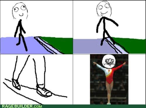 gymnastics,me gusta,Rage Comics,sidewalk