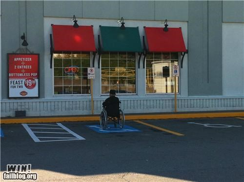 handicapped,handicapped parking,literalism,parking,restaurant,senior,wheel chair