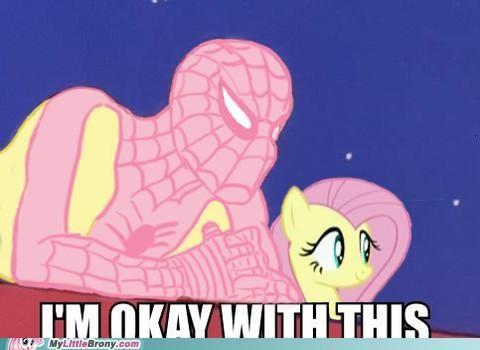 crossover fluttershy ponies Spider-Man superheroes - 5156207872
