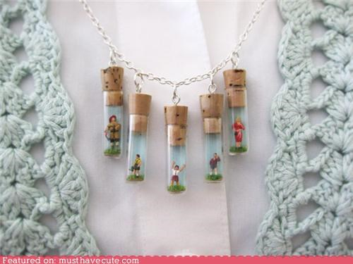 dolls family miniatures necklace vials