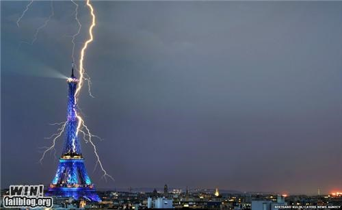 eiffel tower france lightning mother nature ftw paris tower - 5156476928