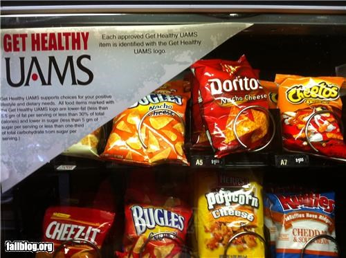 Eating Healthy FAIL A vending machine at the medical school I attend.