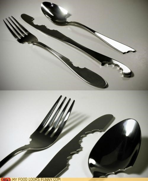 bites flatware hungry metal silverware teeth - 5156567552