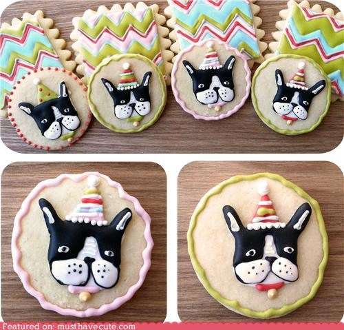 boston terrier,cookies,dogs,epicute,icing,Party,party hats