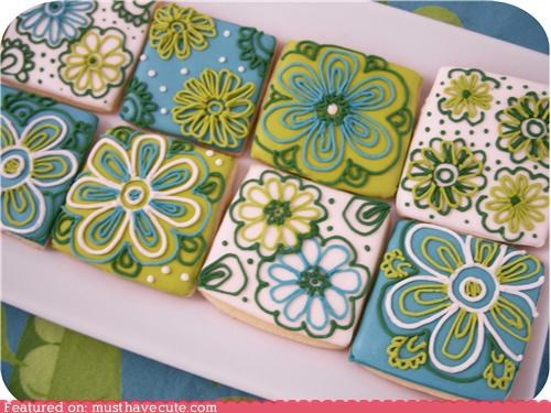 blue cookies decor epicute flowers green icing - 5156743424