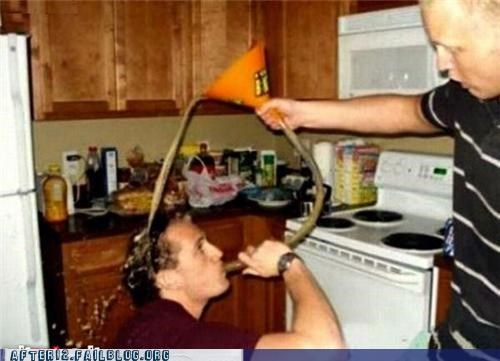 beer,FAIL,funnel,kitchen,spill