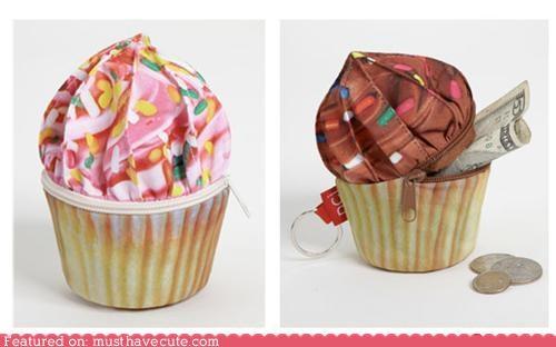 coin pure,cupcake,pouch,print,zipper
