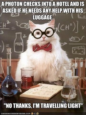 best of the week chemistry cat hotels light luggage memecats Memes photons puns - 5157709824