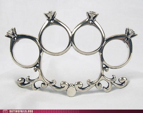 brass knuckles engagement Hall of Fame proposal ring rings - 5159166720