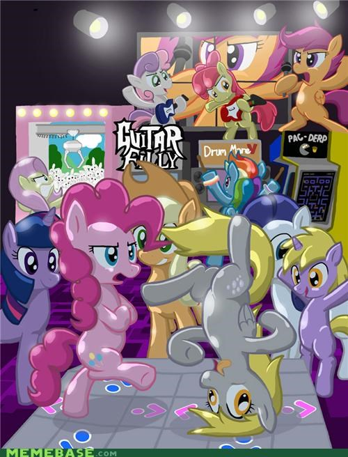 arcade,art,ddr,fluttershy,fun,Guitar Hero,pac man,Party