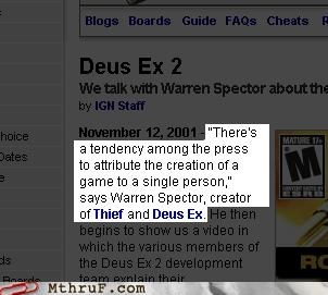 credit deus ex interview video games