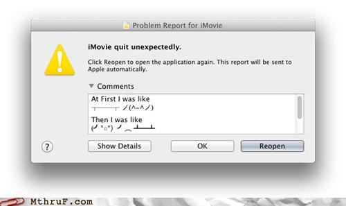 comments,Error Report,imovie