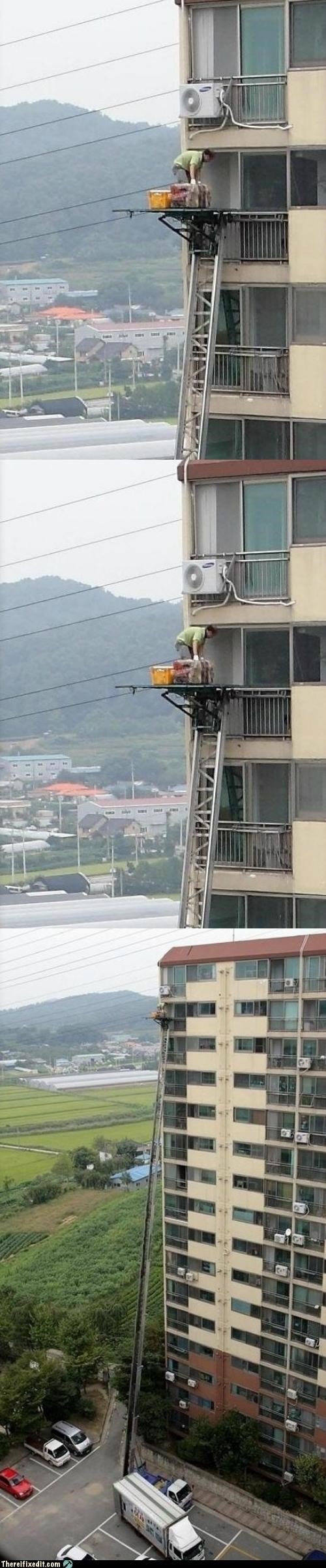 Hall of Fame,ladder,Professional At Work,safety first,scary,wtf