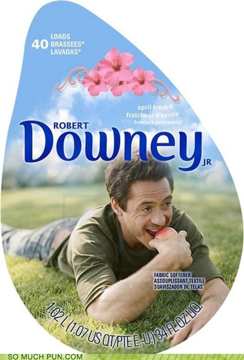 commercial downy fabric softener french Hall of Fame homophone literalism lolwut posing prefix relaxed robert downey jr soft softener puns - 5159936512