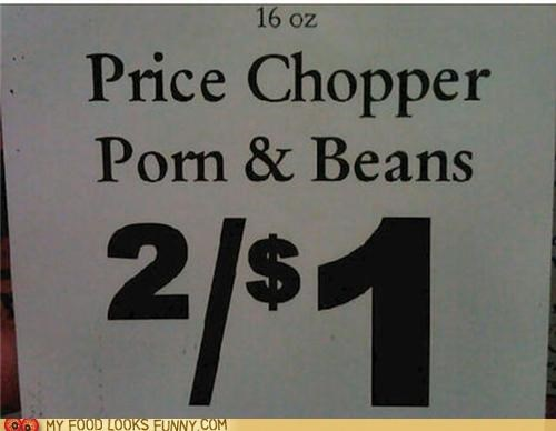 beans deal pork sign store typo