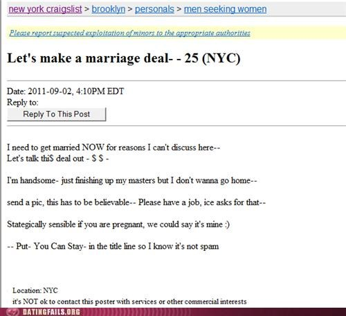 craigslist green card immigrant marriage missed connections visa We Are Dating - 5160324352