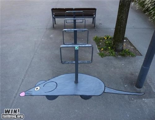 bike rack graffiti hacked irl mouse toy wind up - 5160574976