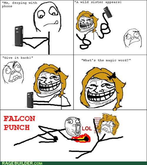 falcon punch,magic word,Rage Comics,troll sister