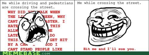 driving,flapjack,Pedestrian,rage,Rage Comics,road