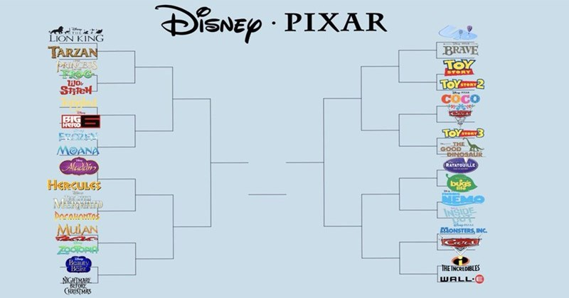 Funny Disney vs. Pixar meme bracket that is making people angry, funny bracket, march madness, movies.