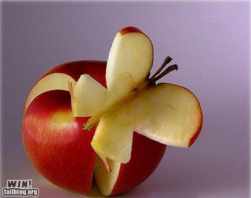 apple,butterfly,carving,food,fruit,noms