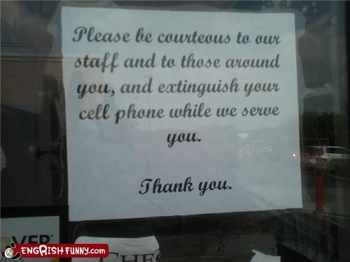 business,cell phone,courtesy,fire,fire extinguisher,sign,thank you,vocabulary