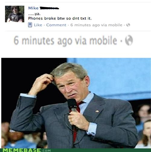 using facebook on my broken phone, no big deal.