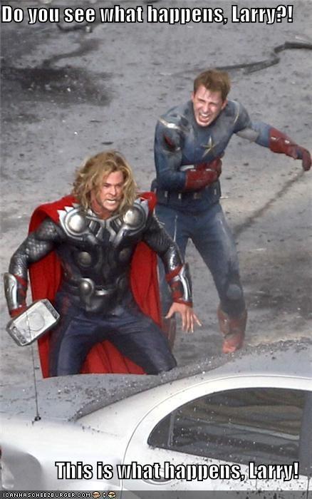 actor captain america celeb chris evans chris hemsworth funny Movie The Avengers Thor - 5164945664