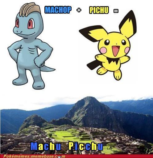 fusion,machop,machu picchu,Memes,pichu